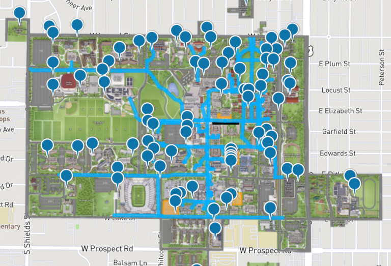 Map of accessible pathways and ADA parking