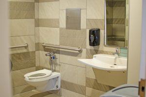 Interior of all gender restroom