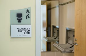 All gender restroom with changing stations