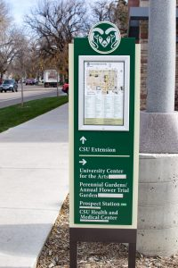 Sign with campus map