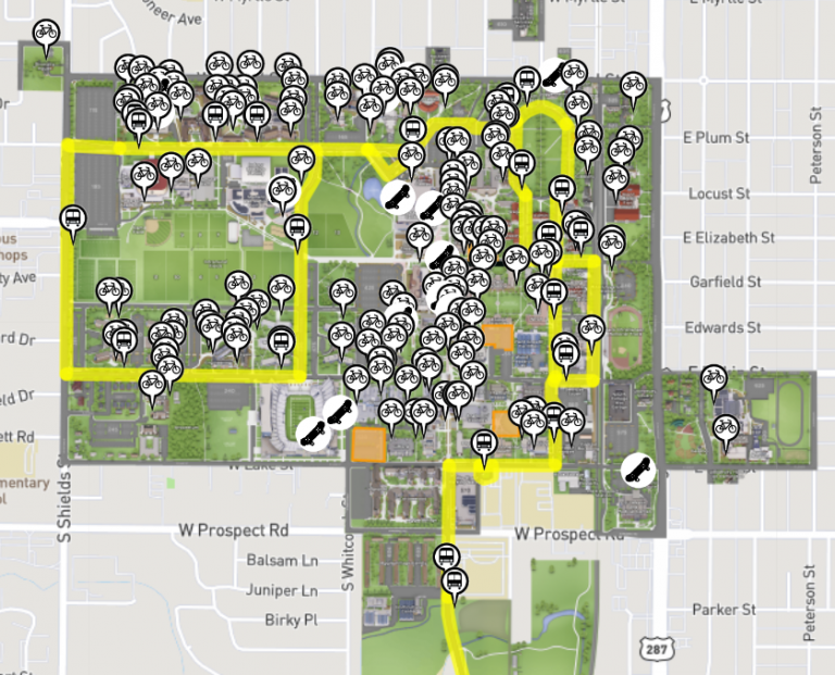Map of bicycle racks and Horn Bus Routes at CSU